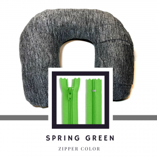 Pillowpack with spring green zipper